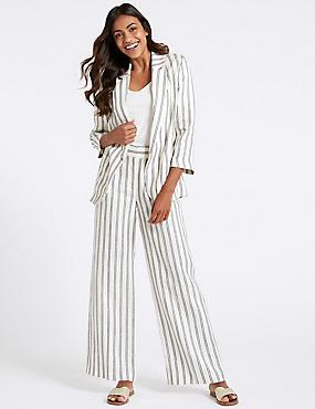 Pure Linen Striped Blazer & Flared Trousers