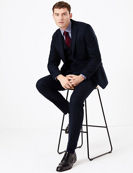 Slim Fit Italian Wool Blend 3 Piece Suit