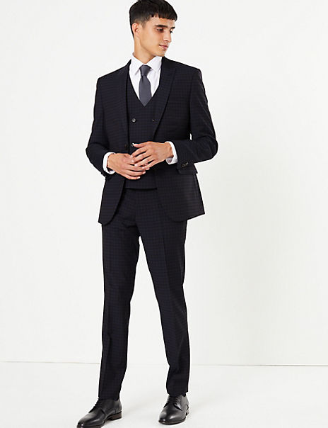 Checked Skinny Fit Suit with Stretch