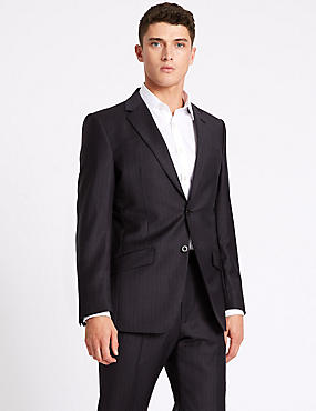 Striped Regular Fit Wool Suit