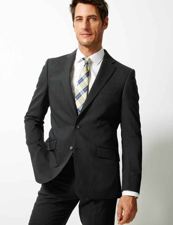 c61816ae6a2 Charcoal Textured Regular Fit Suit