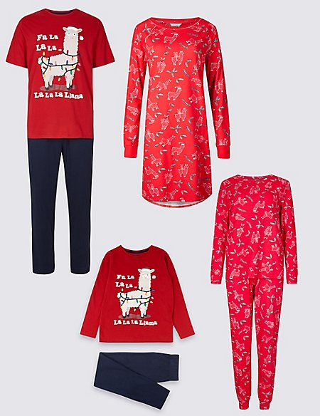 Llama Matching Christmas Pyjamas