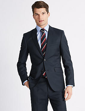 Navy Tailored Fit Wool Suit, , catlanding