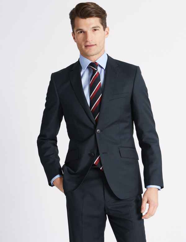 009a56636 Navy Tailored Fit Wool Suit