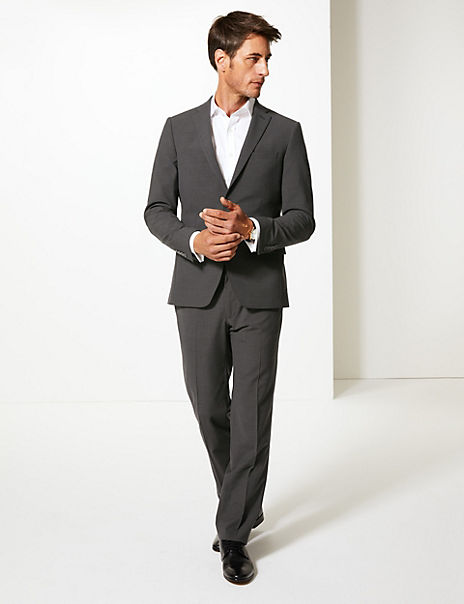 Grey Checked Tailored Fit Suit
