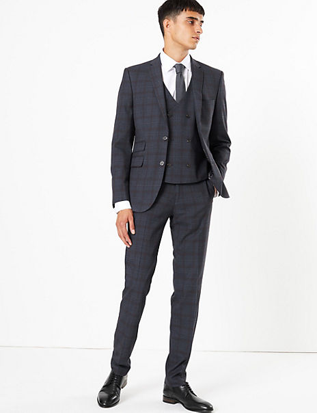 Indigo Checked Skinny Fit 3 Piece Suit with Stretch