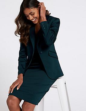 Cotton Rich Bodycon Dress & Blazer Suit Set