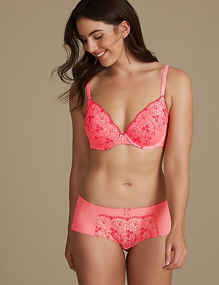 2 Pack Embroidered Set with Padded Plunge A-DD