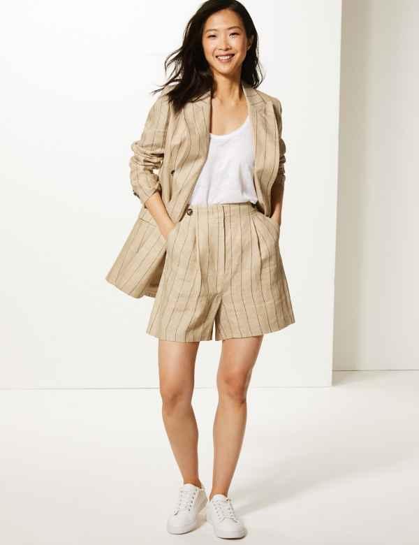 81f4a32ff2 Pure Linen Striped Blazer   Shorts Suit Set