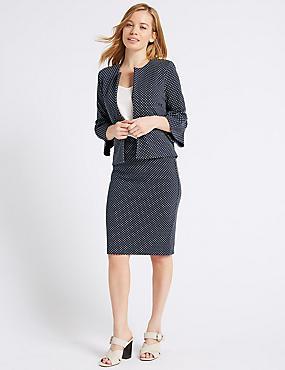 PETITE Spotted Jersey Blazer & Skirt Suit Set