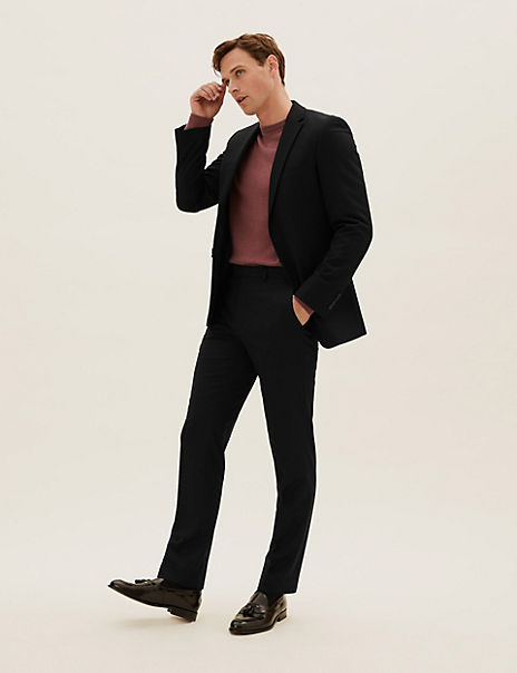 Black Tailored Fit Suit with Stretch