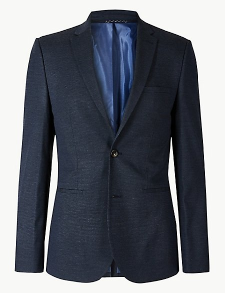 Blue Textured Skinny Fit Suit