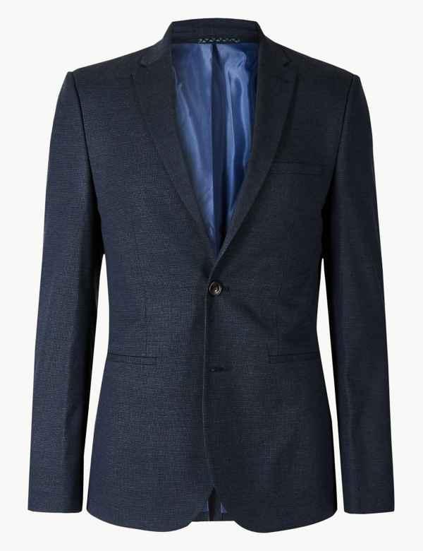 6fc9de00d663 Blue Textured Skinny Fit Suit | M&S