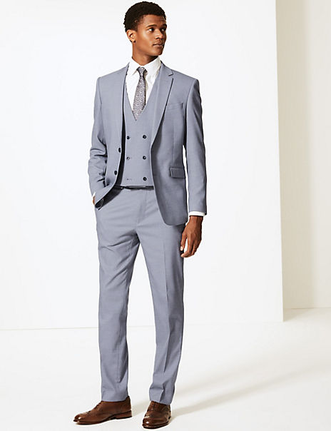 Blue Slim Fit 3 Piece Suit with Stretch