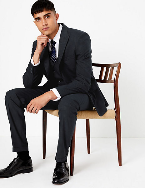 Navy Striped Skinny Fit 3 Piece Suit with Stretch