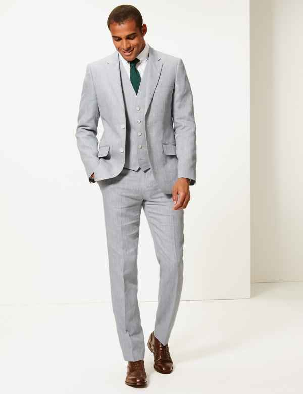 5a878f58690c Tailored Fit Linen Miracle 3 Piece Suit