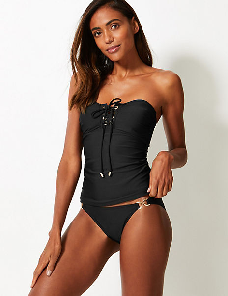 Lace-up Non-Wired Tankini Set