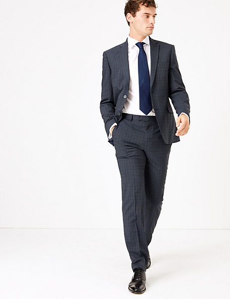 Teal Tailored Fit Checked Suit