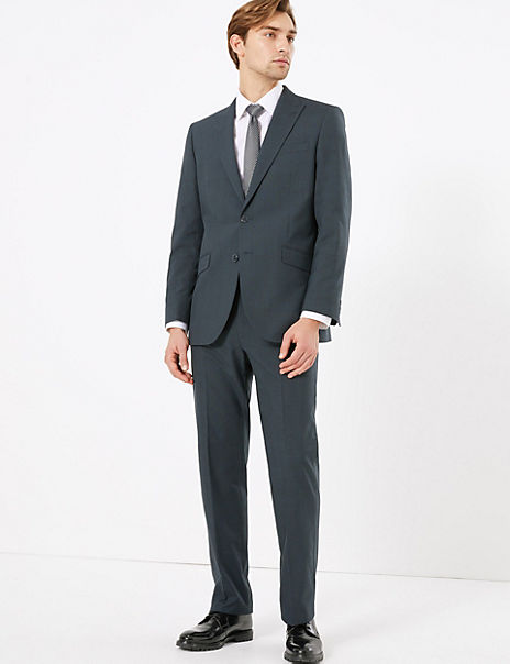 Navy Regular Fit Checked Suit