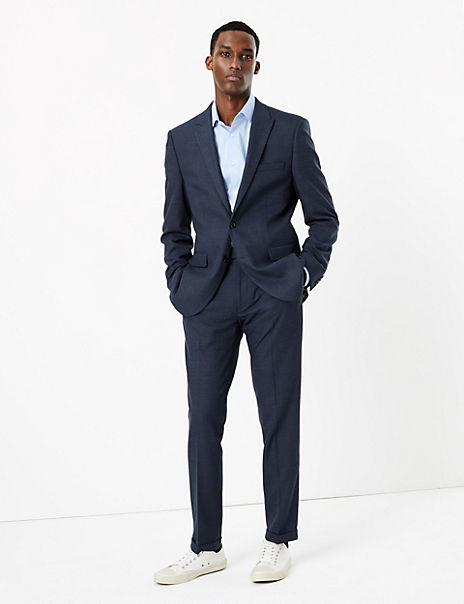 Blue Textured Skinny Fit Suit with Stretch
