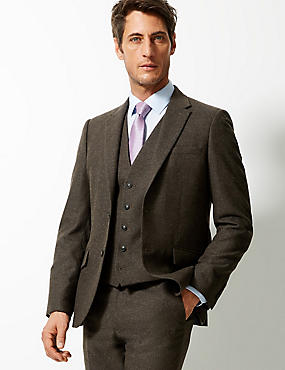 Textured Tailored Fit 3 Piece Suit