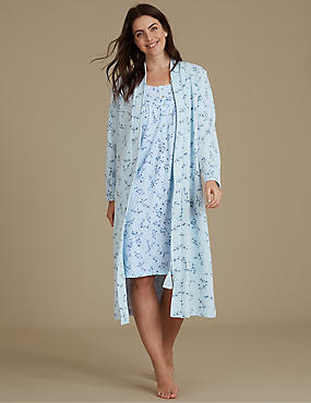 Floral Print Nightdress Set with Dressing Gown, , catlanding