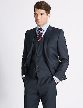 Navy Slim Fit Wool 3 Piece Suit
