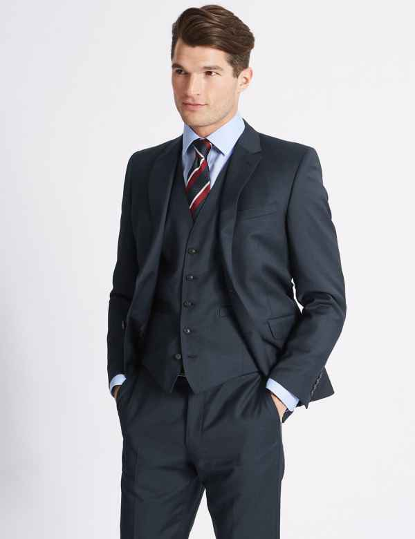 4dbfed21627 Navy Slim Fit Wool 3 Piece Suit
