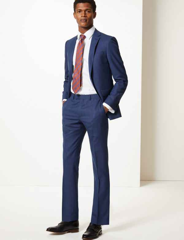 aa5cd273f0 Blue Textured Slim Fit Wool Suit