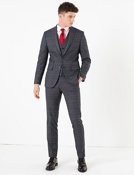 Checked Skinny Fit 3 Piece Suit