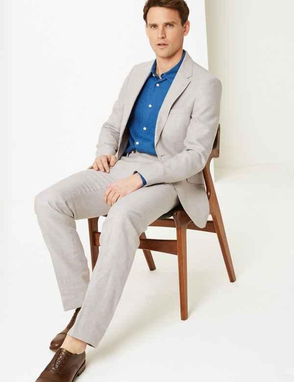 0df18d84b23f Regular Fit Linen Miracle Suit