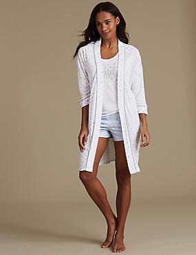 Heart Print Pyjama Set with Dressing Gown, , catlanding