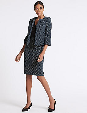 Spotted Jersey Blazer & Pencil Skirt Suit Set