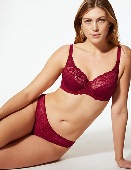 Floral Jacquard Lace Set with Full Cup A-DD