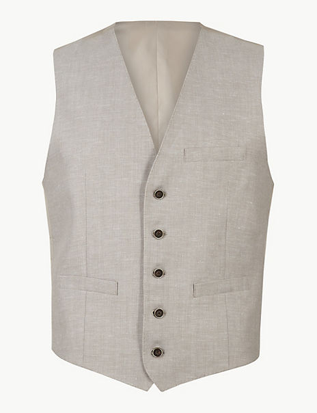 Tailored Fit Linen Miracle 3 Piece Suit
