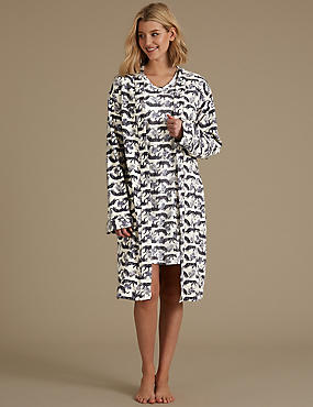 Tiger Print Nightdress Set with Dressing Gown