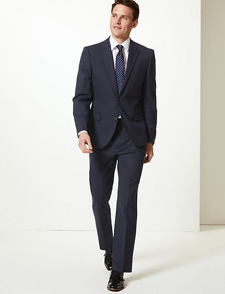 Navy Textured Tailored Fit Suit