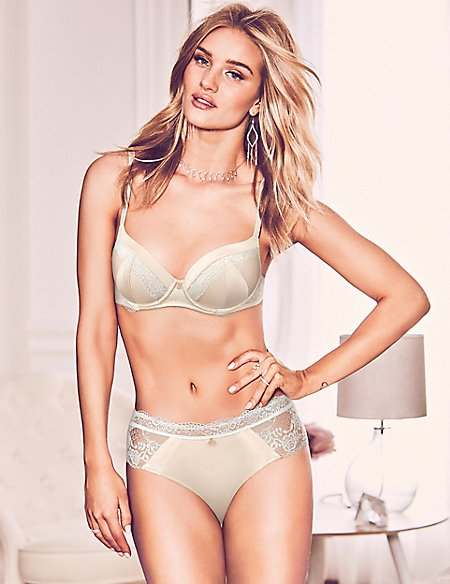 Silk & Lace Set with Padded Full Cup A-E