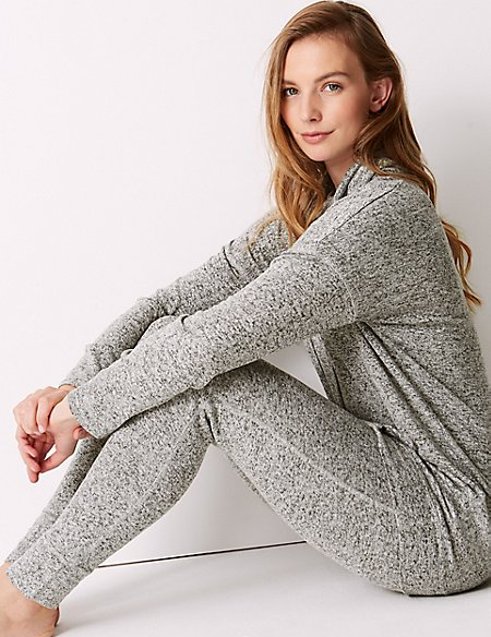 Cosy Knit Cowl Neck Longline Pyjama Set