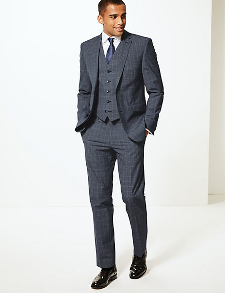 Checked Slim Fit 3 Piece Suit