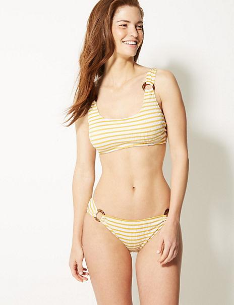 Striped Square Neck Bikini Set
