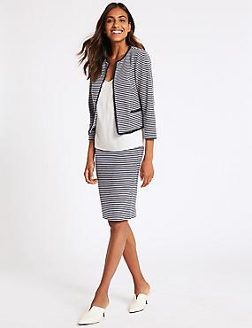 Striped Jersey Blazer & Pencil Skirt