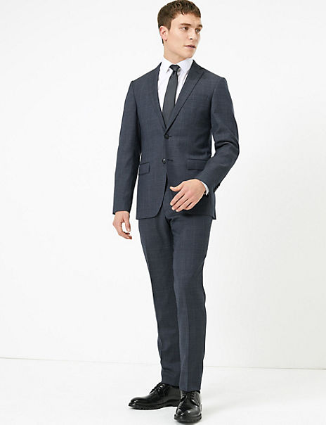 Blue Checked Slim Fit Wool Suit