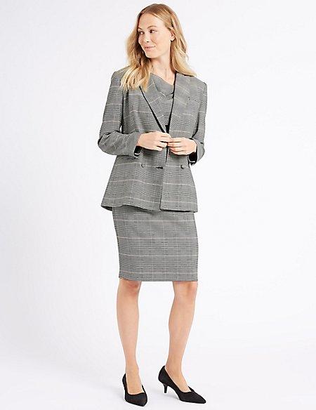 Checked Blazer & Pencil Dress Suit Set