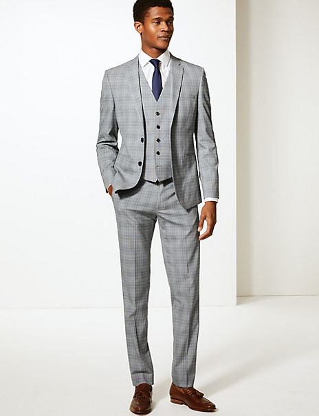 Grey Checked Skinny Fit 3 Piece Suit