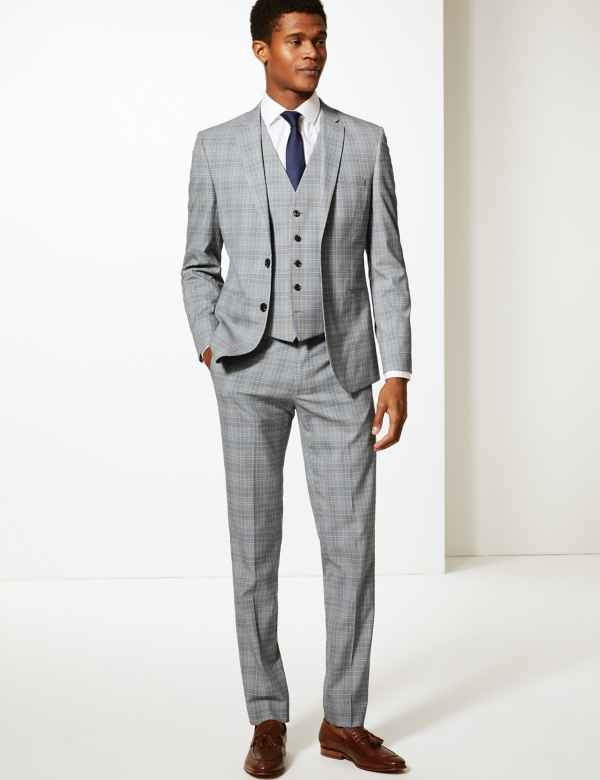 983e031952c Grey Checked Skinny Fit 3 Piece Suit