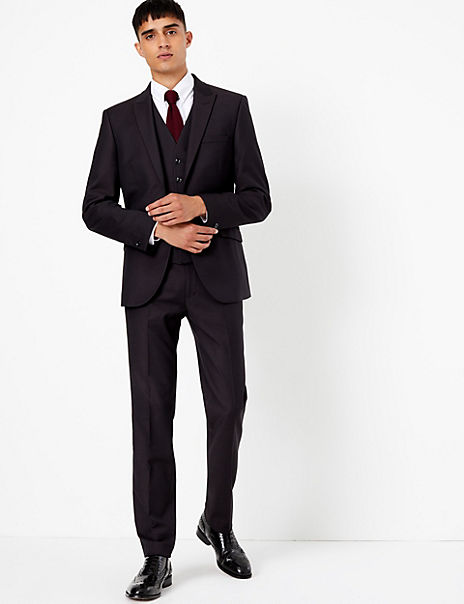 Textured Skinny Fit 3 Piece Suit with Stretch