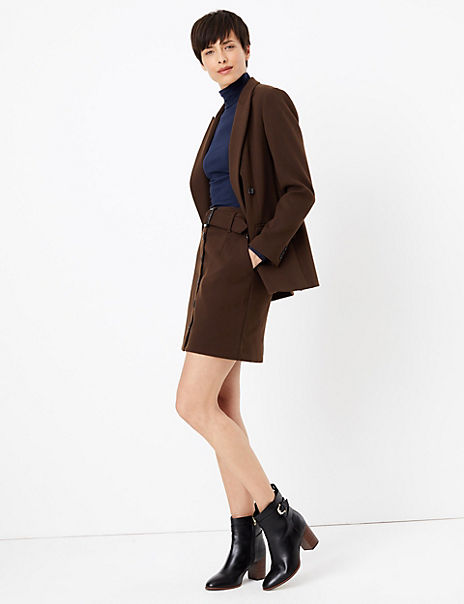 Double Breasted Blazer & Belted Mini Skirt Suit Set