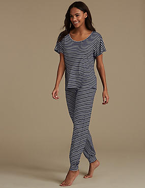 Striped Short Sleeve Pyjama Set, , catlanding