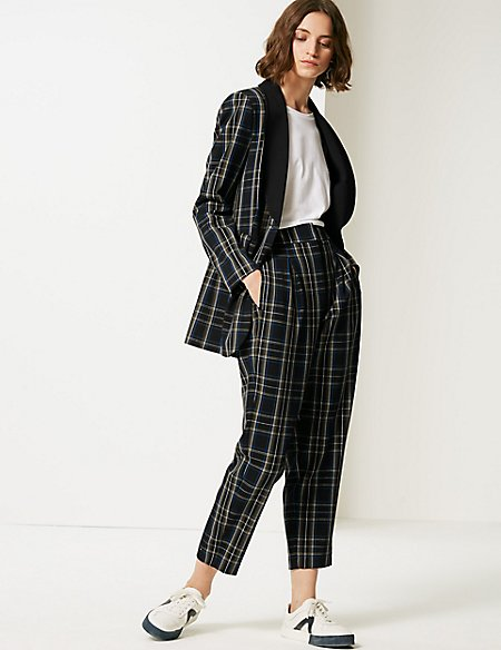 Checked Blazer & Trousers Suit Set